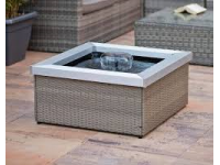 AA AMORA - square water basin in beige gray braided plastic and aluminum frame - 4000l/h, PVC liner - H35 x 74 x74 cm