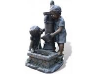 """AA ATLANTA - waterornement decoratie """"kinderen bij de pomp"""" rustiek gemaakt van polyresin - 350l/h - H69,5 x 44 x 39,5 cm"""