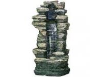 """AA CLEVELAND - waterornement decoratie """"rots waterval"""" rustiek met waterreservoir gemaakt van polyresin - 6000l/h, 1x8 Leds - H180 x 91 x 70 cm"""
