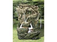 """AA DALLAS - waterornement decoratie """"oude boomstam waterval"""" rustiek met waterreservoir gemaakt van polyresin - 15000l/h, 6x(1x8) Leds - H206 x 144 x 123 cm"""