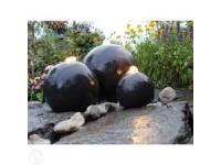 AA LONDON - antracietkleurige terrazzobollen - 150l (88xH32cm), 1600l/h, 3x(1x8) Leds wit - 17, 25, 33 cm
