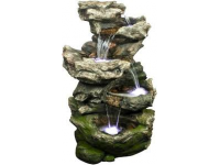 """AA NORFOLK - waterornement decoratie """"rots waterval"""" rustiek met waterreservoir gemaakt van polyresin - 1600l/h, 4x(1x8) Leds - H119 x 75 x 53 cm"""
