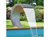 "MAMBA LED - waterval Vijver & Pool - Inox 316L, 230VAC/50Hz, 20 Leds blauw, 12VAC 3,25VA, aansluiting acc. Incl. 1 1/2"" - Lumen 180, A+, 3w - H54 x 30 x 32 cm"